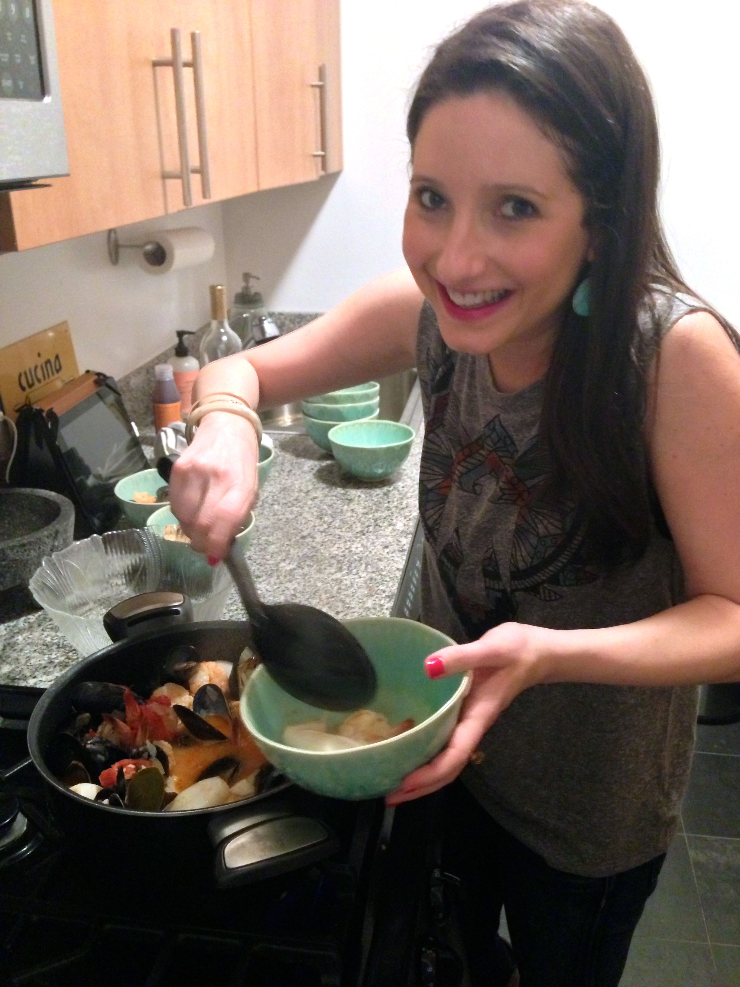 me dishing cioppino